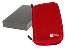 Red Cover For LaCie Rikki Go Hard Drive In Rigid EVA With Inner Pocket & Strap
