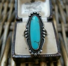 Southwest Natural Turquoise Sterling Silver Ring,UK Size L US 5.75, Bell Trading