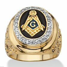Masonic Mason 14k Gold Nugget Jet Black G Ring GP Size 9 10 11 12 13 14