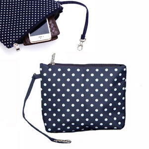 Travel Women Pouch Toiletry Bag Cosmetic Bagwith Zip and Hanging Clip - Navy