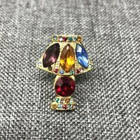 Vintage Scatter Rhinestone Brooch Pin Gold Tone Table Lamp