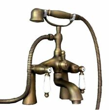 Antique Brass Bathtub Faucet Deck Mounted Bath Tub Mixer Tap Hand Shower Ytf038