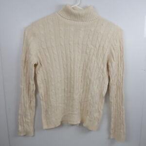 Ralph Lauren Chaps Womens Turtleneck Sweater Size XL Ivory White Jumper