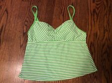 LANDS END TANKINI SWIMSUIT TOP WOMENS Sz 12 Green white striped padded swim