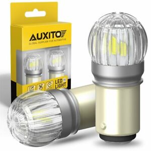 2x AUXITO 1157 2057 LED Turn Signal Brake Reverse Parking Light Bulb White 6T EC