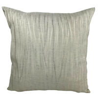 "LUXURY BEIGE SILVER DETAIL CUSHION COVERS / FILLED CUSHIONS 17"" X 17"" INCH"