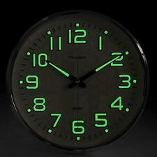 "Wall Clock W/ Silent Non-Ticking Night Light Glow In The Dark 13"" Indoor Outdoor"