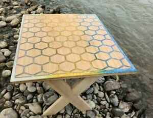 Clear Epoxy Wooden Design Hexagon Honeycomb Housewarming Decorates Made To Order
