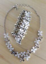 Brighton Eden's Garden White Silver Flower Crystal Necklace & Bracelet Set