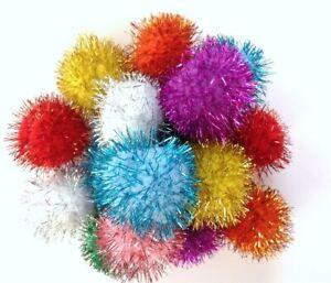 """10 Sparkle Ball Cat Kitten Toys Glitter Pom Poms, 2"""" W"""