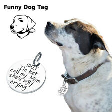 Net Funny Pet Dog Cat Tag Titanium Steel Collar Gift Durable Silver Dog Pendant