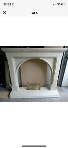 Stunning period style stone effect traditional fire surround with hearth
