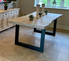 Oak Live Edge Industrial Style Dining Table White Wash Finish