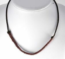 SWANK DESIGNER DARK CHAIN AND BROWN LEATHER CHAIN MEN'S NECKLACE NWOT
