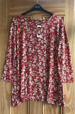Ex Evans NEW Red Multi Floral Flower Jersey Top Blouse Tunic Plus Size 16 - 20