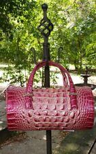 Brahmin Claire Lotus Magenta Barrel Crossbody/Handbag Croco Embossed Leather NWT