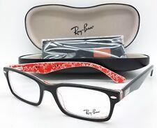 Nuevo RayBan RX FRAME RX5206 2479 52 Negro Rojo Rectángulo auténticas 5206 Classic