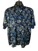 Natural Issue Mens Blue Floral Viscose Rayon Hawaiian Shirt - Size M
