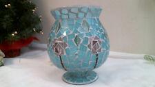 mosaic Aqua glass candle holder wi Pink flowers hurricane tea light vase