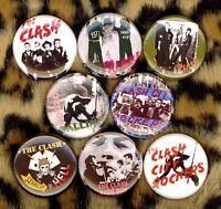 The Clash x 8 button pin badge city rockers combat rock london calling punk