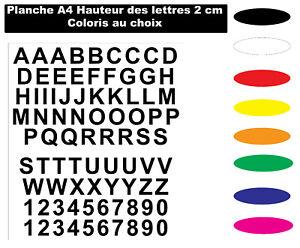 Sticker lettres et chiffres autocollant de 2 cm planche A4 Coloris au choix