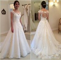 Modest Lace Applique Wedding Dresses Cap Sleeves A line Beach Bridal Gown Custom