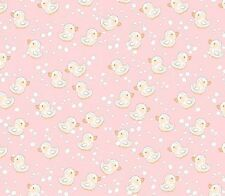 """Miniature rubber ducks on a pink ground  100% cotton 44"""" fabric by the yard"""