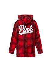 Victoria Secret PINK Red/Black Plaid Fleece Campus Half Zip Pullover Hoodie L