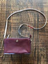 Tory Burch Crossbody Wallet Bag Maroon/Burgundy With Multicolor Strap