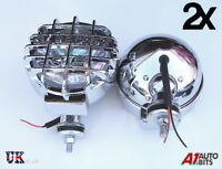 """12v Car Van 4x4 6.61"""" inch Chrome Covers Round Halogen Driving Spot Lamps Lights"""