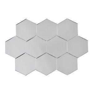 20pcs Hexagon Mirror Mosaic Tiles Glass Adhesive Stickers Wall Decals DIY Decor