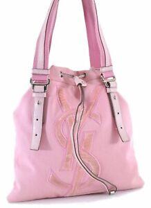 Authentic YVES SAINT LAURENT KHALA Tote Bag Canvas Leather Pink D1007