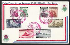 Polish Exile Government covers 1941 Scarce FDC Card