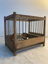 Antique Vintage Coal Miner's Wooden Canary Bird Cage Glass Jar wood feeder