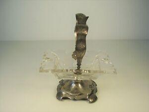 Antike Biedermeier Echt Silber & Glas Schale um 1860