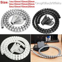 1/3/5m 10/15/25mm Spiral Cable Wrap Cord Tidy Wire Binding Storage Organizer