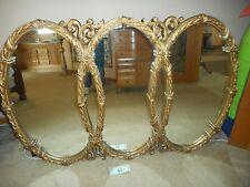 "Large Vintage Mid Century Tri-Oval Wall Mirror 65''x 43""x "" 2"" Hollywood Regency"