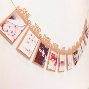 Baby 1st Birthday Party First 12 Months Photo Garland Bunting Banner Decorations