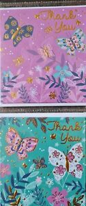 PACK OF 8 SMALL SIMON ELVIN THANK YOU CARDS WITH ENVELOPES (BUTTERFLIES)