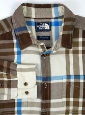 The North Face Mens Long Sleeve Shirt Size Medium Brown Blue Plaid 100% Cotton