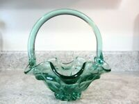 """1990's Fenton Glass Footed Basket in Sea Mist Green, """"Lamb's Tongue"""" Pattern"""