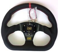 320mm Leather Superqua Flat Steering Wheel For MOMO Hub SPC Red Stit Red Stripe