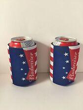 Budweiser Beer Koozie Fits 12 oz Cans & Bottles (2) ~ NEW & FS America USA FLAG