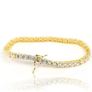 14k Gold Plated Large Cz Stone Solitaire Mens Hip Hop Tennis Chain Bracelet