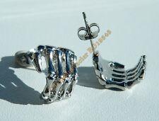 Boucles d'Oreilles Clou 22 mm Acier Inoxydable Argenté Main Squelette Skull Goth