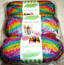 Lion Brand Yarn Ice Cream Cotton Blend RAINBOW Lot of 3 Skeins #4 Medium