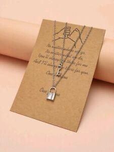 Lock & Key Charm Chain Necklace Layered Padlock Pendant Ebay Fashion Jewellery