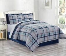 CANVAS PLAID 8PC QUEEN COMFORTER SET