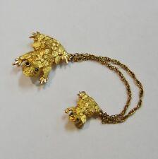 14K YELLOW GOLD  EMERALD FROG PIN/BROOCH N553-C