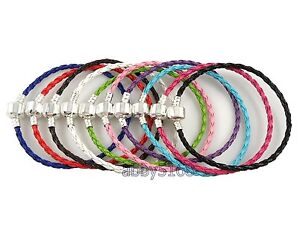 10pcs Braided Leather Charm Bracelets Fit European Bead 20cm. Choose Colours L07